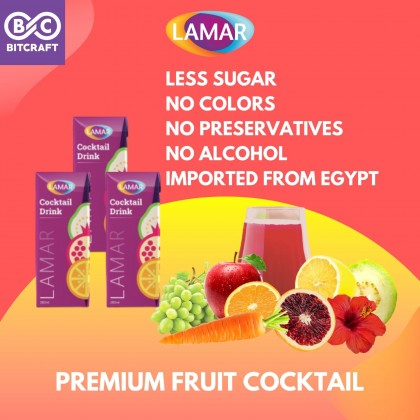 LAMAR Fruit Cocktail Mocktail Punch Drink 1L Less Sugar No Alcohol Imported From Egypt No Preservative Koktel Jus Buah