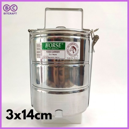 Horse Food Carrier Tiffin Carrier Lunch Box Tingkat Nasi 3 Tier Food Storage Box Food Container Bitcraft