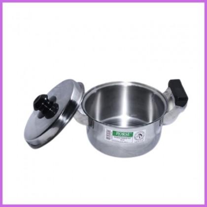 HORSE Stainless Steel  Double Handle Pot Soup Sauce Maggie Milk Pot Stew Braised Pot 20cm 22cm 24cm 26cm  Periuk Sup Keluli Bitcraft